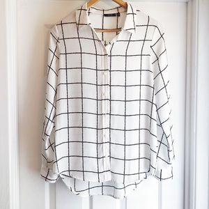 Apt 9 Black White Checkered Button Up Blouse Small